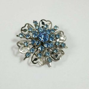 Vintage Light Blue Silver Tone Starburst Brooch
